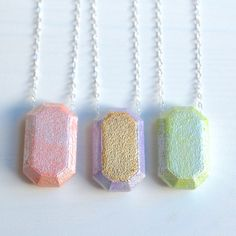 GEMSTONE: 3d printed necklace // gold fill + pastel - silver fill + pastel  // geometric faceted necklace