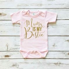 04932066a891a5 Mama Is My Bestie Pink Baby Girl Onesie Outfit with Gold Glitter and Black  Lace Ruffle Bottom Bloomers and Matching Black and Gold Sequin Bow Headband.