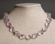 Pink Amethyst Necklace with Gold  Pastel  February by RedChair, $95.00