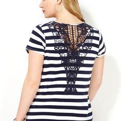 Crochet Back Striped Tee-Plus Size Tee-Avenue