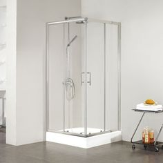 """36"""" x 36"""" Holmes Shower Enclosure - with Tray - Brushed Aluminum"""