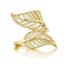 Penny Preville Leaf 18 Karat Yellow Gold & Diamond Ring