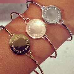 Marc by Marc Jacobs Big Logo Hinge Bracelets via Johanna Bergendahl