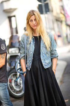 @roressclothes closet ideas #women fashion outfit #clothing style apparel denim jacket, black dress