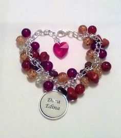 "Mother (grandmother, godmother, aunt, etc.) bracelet with children""s names, glass beads, Swarovski style heart, and with minerals #zezekszer https://www.facebook.com/zezEkszer/"