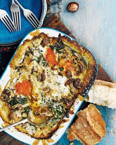 Make sure you have crusty bread to dunk into this heavenly combination of swiss chard, mushrooms and runny eggs baked in a cheesy creamy sauce.