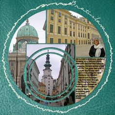 Travel scrapbook layout - Really like the single photo cut in different size circles; very effective visual