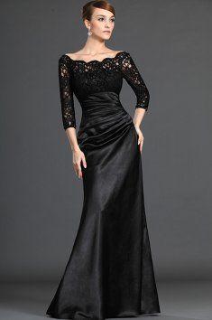 Černé saténové šaty s krajkovými rukávy