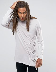 Image 1 of ASOS Longline Long Sleeve T-Shirt With Strap Detail