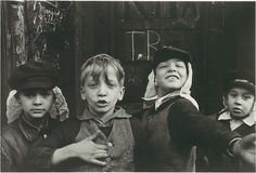 Helen Levitt :: Four Boys in 'Beau Geste' Headgear, 1942 [aka 'Foreign Legion']