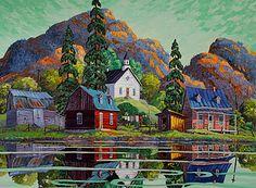 """""""Les verts d'ete"""" by Vladimir Horik Landscape Art, Landscape Paintings, Watercolor Paintings, Landscapes, Watercolour, Art Tropical, Acrylic Painting Tips, Autumn Scenes, Z Arts"""