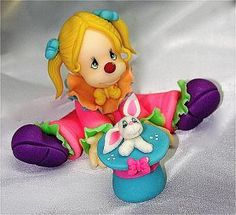 Little Girl Clown Clay Figurine. So cute.