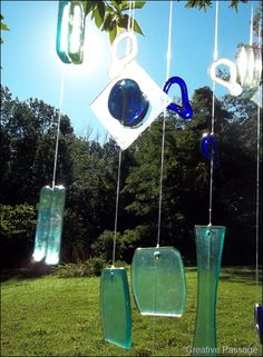 Ellen's Creative Passage: Recycled glass and driftwood mobile