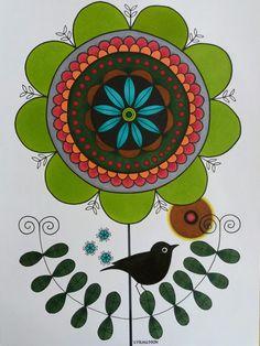 Green flower and bird in ink  and colour pencils. A4 Tecknad blomma och fågel i tusch och färgpennor. Luminance. Polycromos Veronica, Magenta, Photoshop, Studio, Floral, Flowers, Florals, Florals, Studios