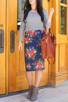 This is the cutest floral Cassie pencil skirt by Lularoe. I love it paired with this striped long sleeve t-shirt. Stripes and florals are amazing together. Become a Independent Lularoe business owner!