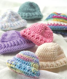 Crochet Or Knit Newborn Caps - Free Crochet Pattern - (redheart)