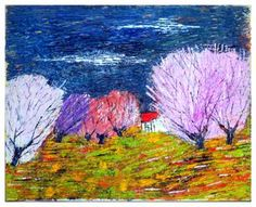 "Saatchi Art Artist Reuven Dattner; Painting, ""winter blossom"" #art"