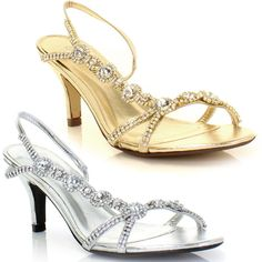 b10d9e38fe WOMENS LOW MID GOLD SILVER DIAMANTE KITTEN HEEL PARTY SHOES SANDALS SIZE 3-8