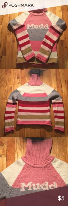 MUDD Heavy turtleneck sweater 💕🧥 MUDD heavy turtleneck sweater 💕🧥💕 100% Acrylic. Made in Korea . Underarm to underarm is 16 wide, from top to bottom is 22 inches long, sleeves are 18 inches long. This sweater being with me for a long time. Still could be used. Very pretty colors and very warm. See pictures please. Remember is kind of wear out. Any questions feel free to ask me 💕🧥💕 MUDD Sweaters Cowl & Turtlenecks