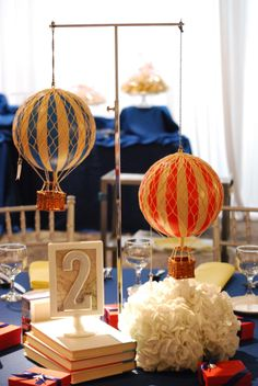 """""""Fly & Explore"""" Hot Air Balloons and Vintage Airplanes Event, event design and floral by Limani Designs, www.limanidesigns.com"""