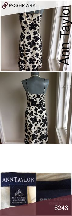 """Ann Taylor Black/Cream Print Spaghetti Strap Dress Ann Taylor Black/Cream Print Spaghetti Strap Dress.  Size 2.  Flat lay measurements. Between underarms 16"""". Waist 14"""". Hips 18"""". Length 37"""". Good condition.  ••••••••This is a FIRM PRICE••••••••• Ann Taylor Dresses Midi"""