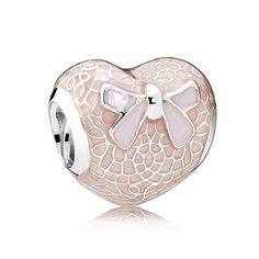PANDORA Pink Bow and Lace Heart Charm 792044ENMX