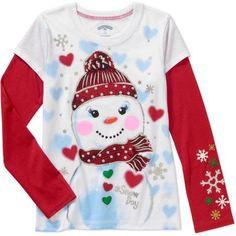 Girls' Long Sleeve Graphic Hangdown Tee Snow Day Snowman, White