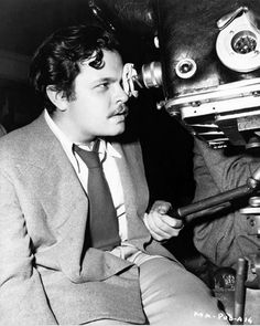 """Orson Welles behind the camera during the filming of ""Citizen Kane"" (1941)"""