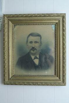 Large Antique Oak Wood & Gilt Gesso Picture Frame Victorian Gentleman Portrait -