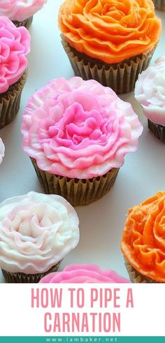 Piping out a carnation with buttercream frosting is not only easy, but it is fun! #frosting #buttercream #spring #cupcakes