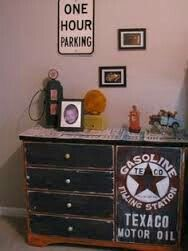 Refinished dresser painted then added a diamond plate for Garage themed bedroom ideas