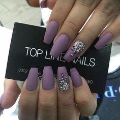 Purple Matte #PurpleMatteNails #PurpleMatte #PurpleNails #Purple #Matte #Rhinestones