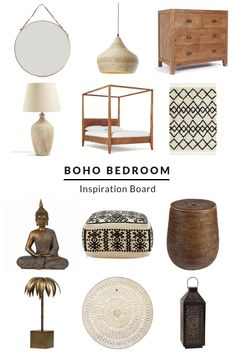Boho Bedroom Inspiration Board Create Your Own Retreat At Home ! boho bedroom inspiration board créez votre propre retraite à la maison Boho Bedroom Decor, Bohemian Style Bedrooms, Bedroom Vintage, Moroccan Inspired Bedroom, Vintage Bedding, Modern Bohemian, Bedroom Furniture, Home Furniture, Furniture Stores