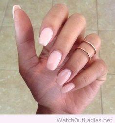 Pale pink acrylic nail art