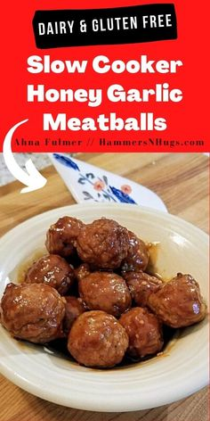 Sweet and salty this slow cooker honey garlic meatballs recipe is the perfect go to for a large crowd and always come out as the favorite!  Tap on the pin for this slow cooker recipe and more at Ahna Fulmer // HammersNHugs.com.    #slowcookerrecipe #slowcookerrecipes #slowcookermeatballs #meatballrecipes