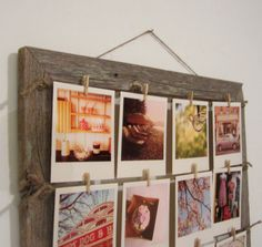 Barn wood frame with clothespins