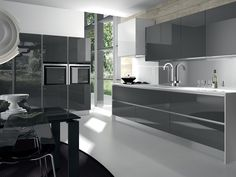 Marvellous modern grey kitchen designs popular and white decorating Black Gloss Kitchen, Modern Grey Kitchen, Modern Kitchen Furniture, Grey Kitchen Designs, Grey Kitchens, Modern Kitchen Design, Modern Kitchens, Luxury Furniture, Glass Furniture