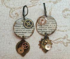Steampunk Earrings, Steam Earrings, Cog Earrings, Definition Earrings, Dictionary Page Earrings, Steampunk Jewelry, Cog Jewelry, Gears, Cogs - pinned by pin4etsy.com