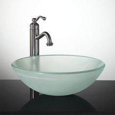 Frosted Glass Round Vessel. Vessel Sink BathroomGlass ...