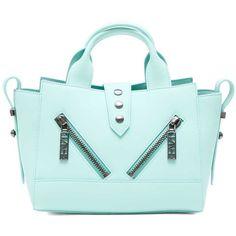 KENZO 'Mini Kalifornia' with strap ($425) ❤ liked on Polyvore featuring bags, handbags, green handbags, kenzo, green bag, green purse and kenzo bag