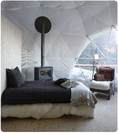 Oh mon dieu....White Pod Glamping in the Swiss Alps?! This looks like sleeping inside the worlds most luxurious puffy coat! Take me now! sarahlovesit