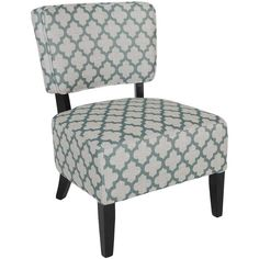 """Our Price: $88.00 Dimensions: 34""""h x 24""""w x 26""""d Teal Diamond Armless Accent Chair 1K2-403"""