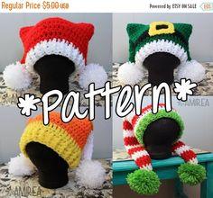"""Ravelry: Double Tail Holiday Hat pattern by Brandi """"Bee"""" Thomas Bonnet Crochet, Crochet Cap, Crochet Beanie, Knitted Hats, Free Crochet, Crochet Crafts, Yarn Crafts, Yarn Projects, Crochet Projects"""