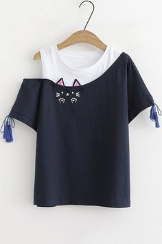 Simple Cheap Chic, Shop Girls Cute Cat Embroidery Round Neck Cold Shoulder Tassel Short Sleeve Patched Casual T-Shirt online. Crop Top Outfits, Cute Casual Outfits, Casual T Shirts, Stylish Outfits, Women's Casual, Girls Fashion Clothes, Teen Fashion Outfits, 90s Fashion, Boho Fashion