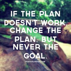 If the plan doesn't work, change the plan. Never change the goal #inspiration #motivation #quotes