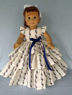 18 inch Retro ruffled doll dress. Fits American by ASewSewShop