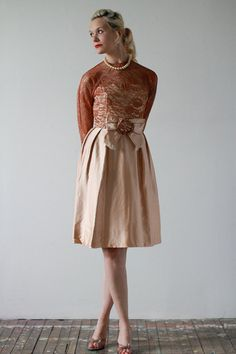 1950s Dress / Silk Satin & Lace / Rosebud Dress by dethrosevintage, $118.00