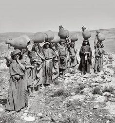 Women carrying their water jars. 1900-1920 ~ Asia