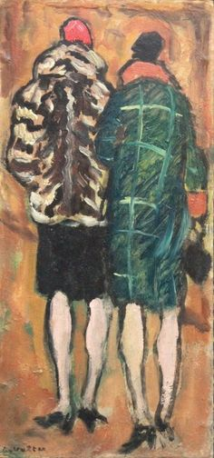 Louis Valtat (1869-1952), Passantes de dos, huile sur carton, 31 x 13 cm. Estimation : 5 000/6 000 €. Samedi 12 mars, Nîmes. Hôtel des ventes de Nîmes SVV. Cabinet Maréchaux.
