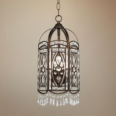 """Antique Gold with Crystal 18"""" High Foyer Pendant Chandelier -"""